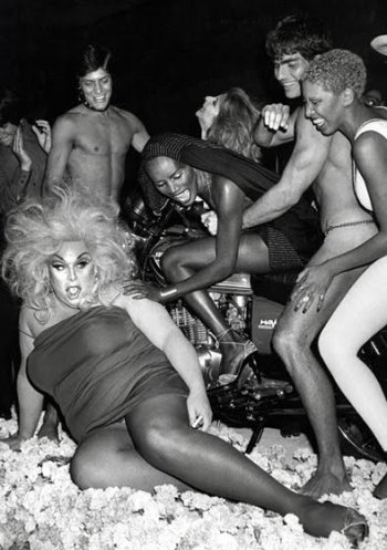 Ron Galella, Divine and Grace Jones celebrating her 30th, 1978.
