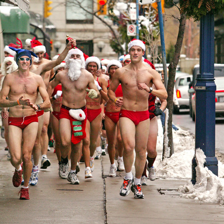 0c8bafe2e72de Brrrr! Around 70 men and women braved the the snowy streets of Toronto for  the eighth annual Toronto Santa Speedo Run. And you thought the Chicago and  ...
