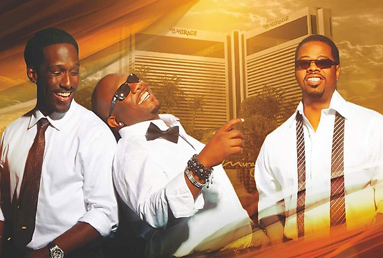 A poster for the band, Boys II Men, with the three lead singers.
