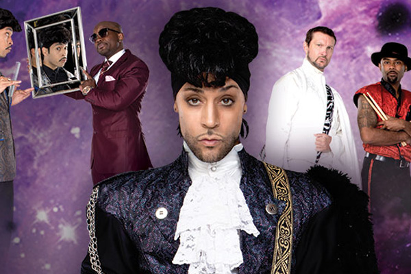 A photo of Prince, behind a purple background with various iconic singers