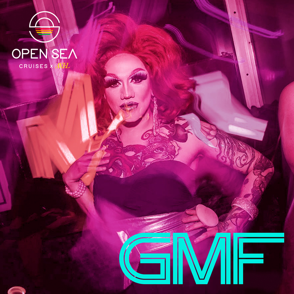 A promotional poster for the GMF party, based in Berlin, which will be featured on Open Sea Cruises' new cruise in September. The poster showcases one woman posing, has a light pink overlay with blue text.
