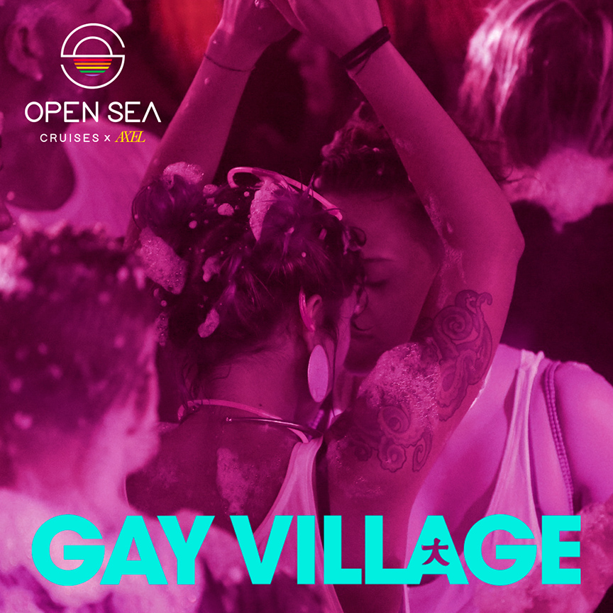 A promotional poster for the Gay Village party, based in Rome, which will be featured on Open Sea Cruises' new cruise in September. The poster showcases two women dancing, has a light pink overlay with blue text.