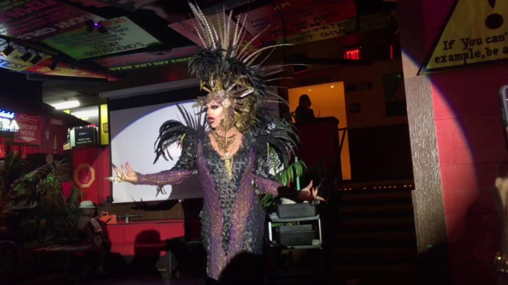 A photo of a drag queen performing at drag brunch at Señor Frogs in Las Vegas.