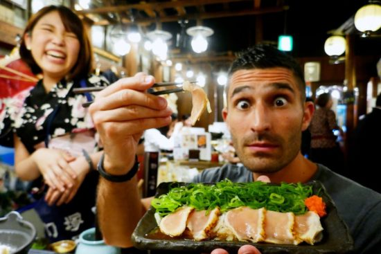 Trying chicken sashimi in Tokyo
