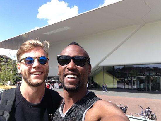 Brandon and his husband outside the Stedjelijk Museum