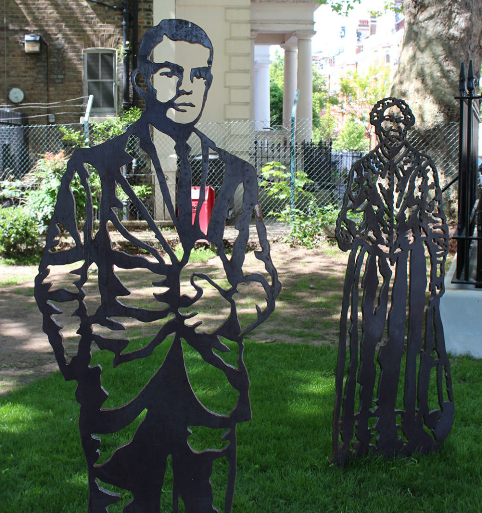 Laser-cut steel figures of Alan Turing and the nurse Mary Seacole
