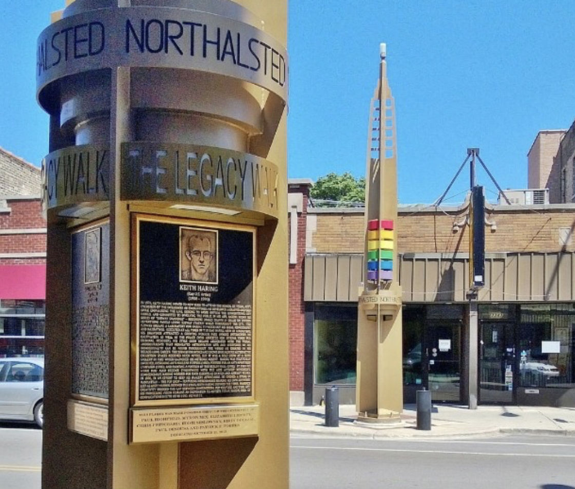 Two of the pylon's on Chicago's LGBT Legacy Walk