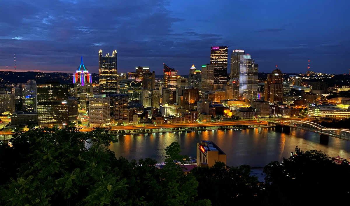The Pittsburgh skyline from Mount Washington, with the rainbow-lit Highmark Building on the left
