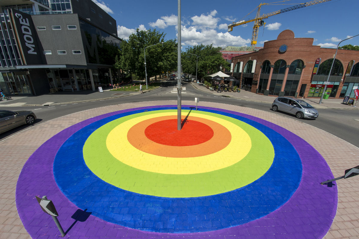 The rainbow roundabout in Canberra, Australia