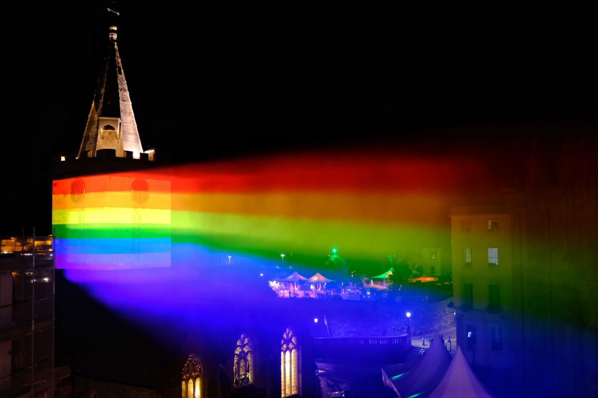 A rainbow projection on the town's main church lasted all weekend