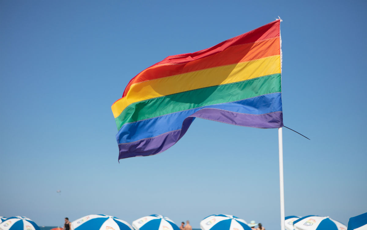 A rainbow flag over 12th Street Beach, Miami