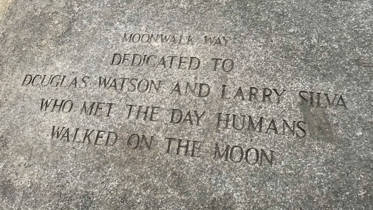 An engraved rock at the National AIDS Memorial Grove in San Francisco