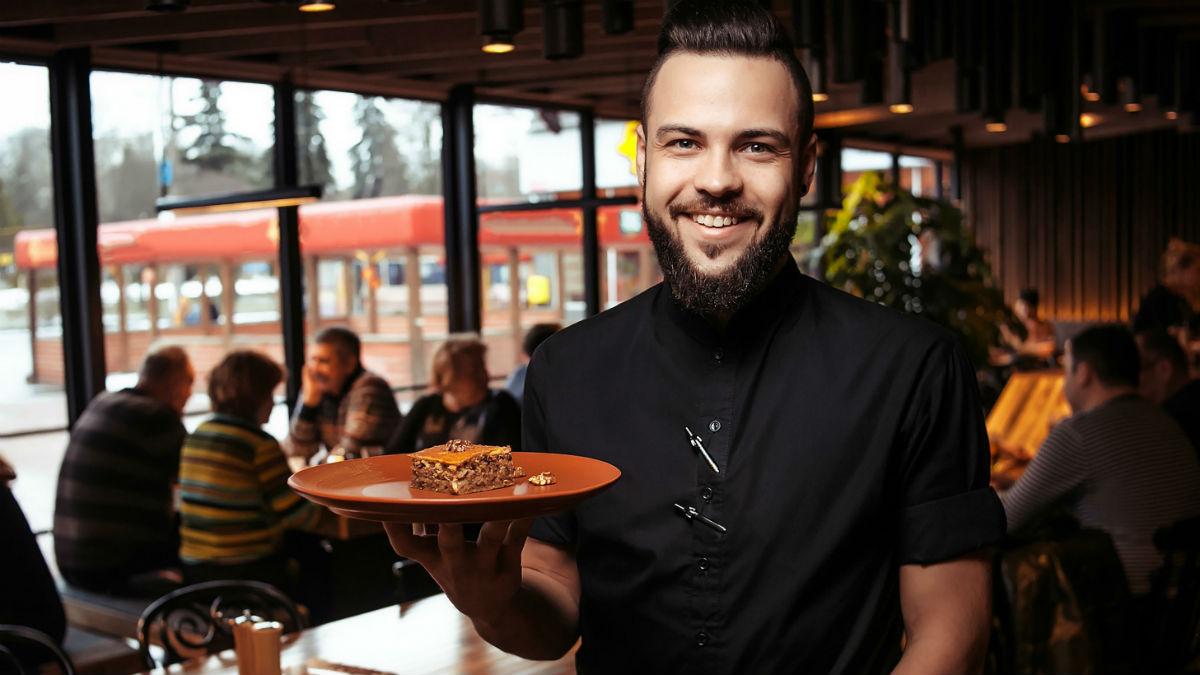 A waiter in a restaurant