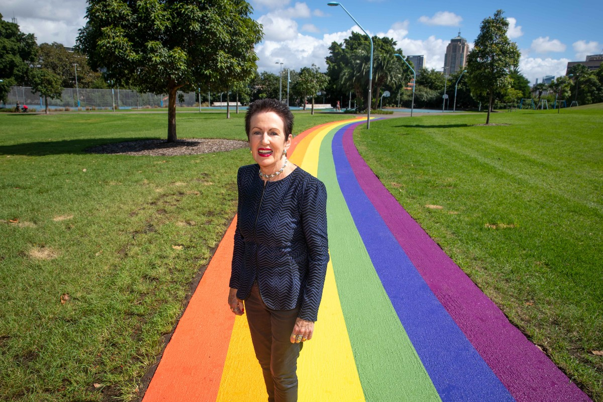 Lord Mayor Clover Moore on the rainbow path