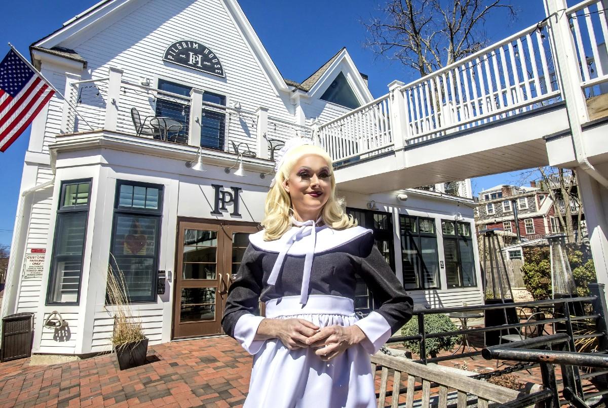 Paige Turner outside Pilgrim House