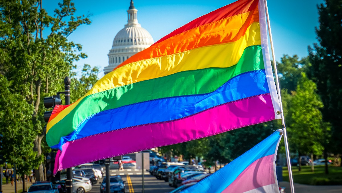 The Capitol Building in Washington DC on Pride day
