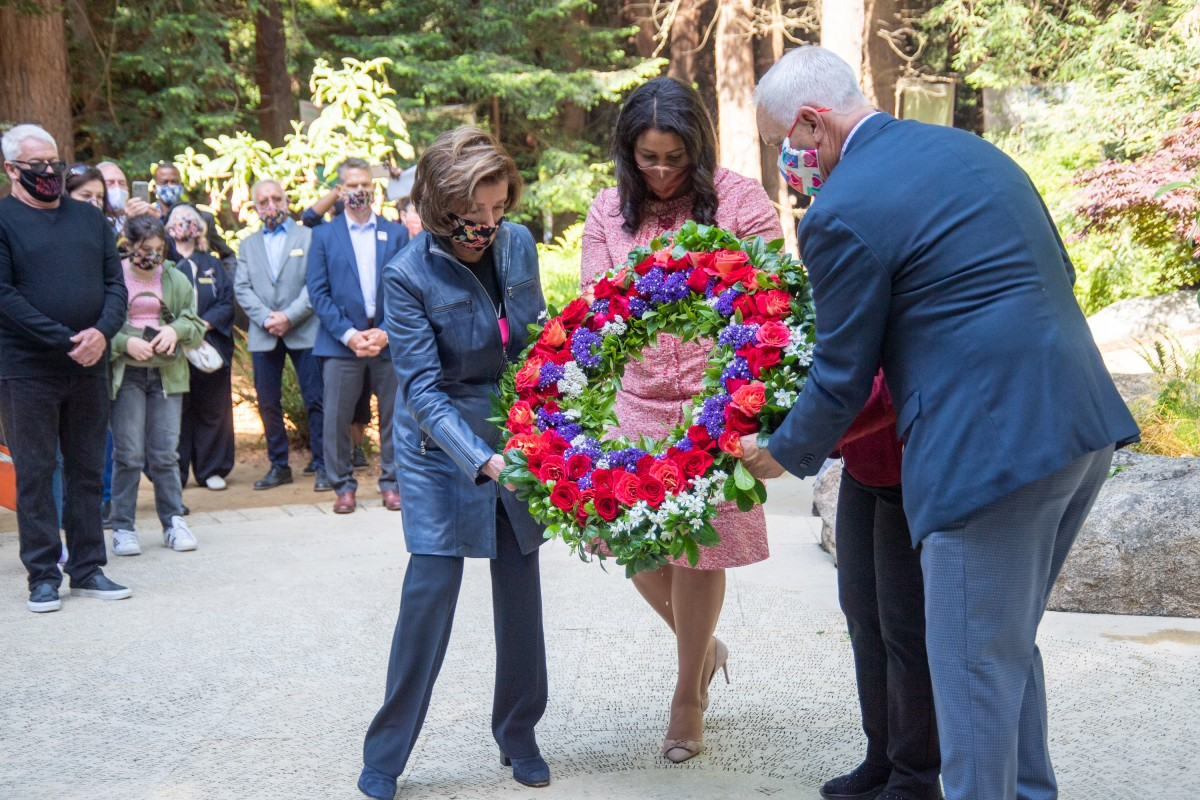 House Speaker Pelosi, SF Mayor London Breed, Congresswoman Barbara Lee and Chief Executive John Cunningham lay wreath at National AIDS Memorial on 40th Anniversary of AIDS