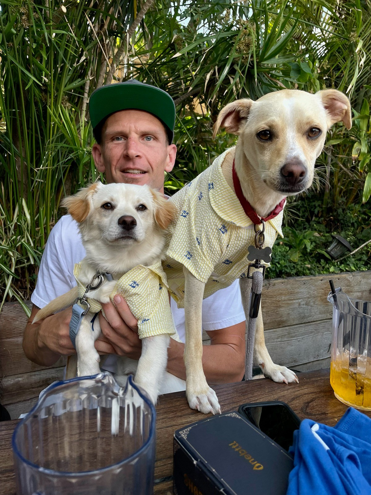 The Hole In The Wall owner Crosby Roper with his dogs, Pepé and Hank (