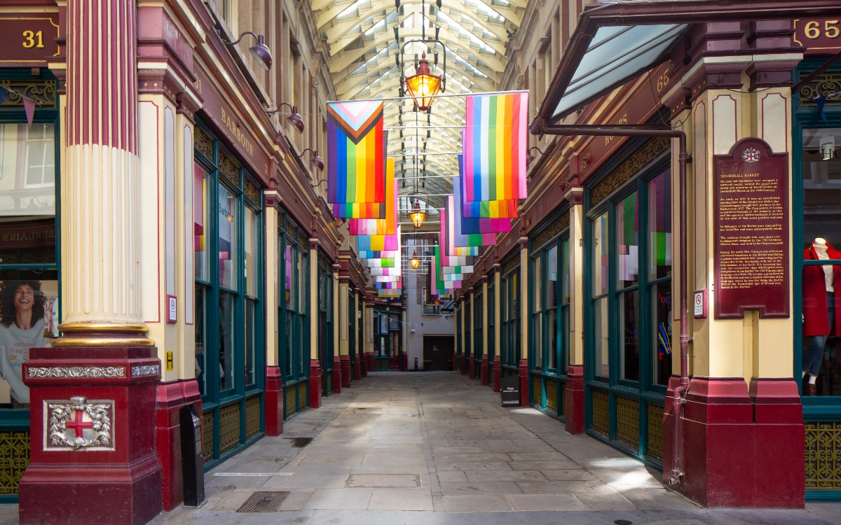 Pride flags at Leadenhall Market in London