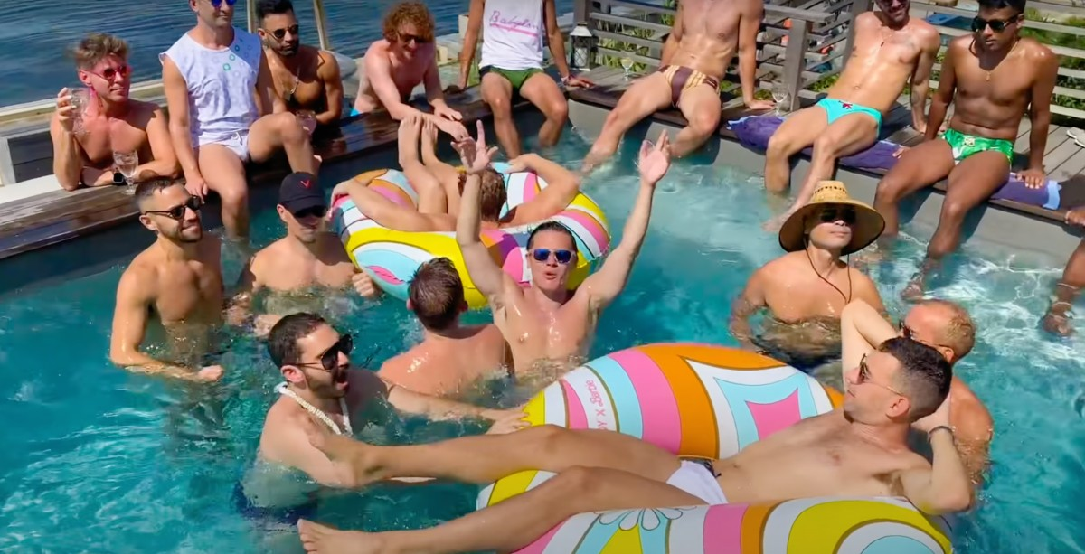 Seth Sikes (center with sunglasses) and friends in Fire Island