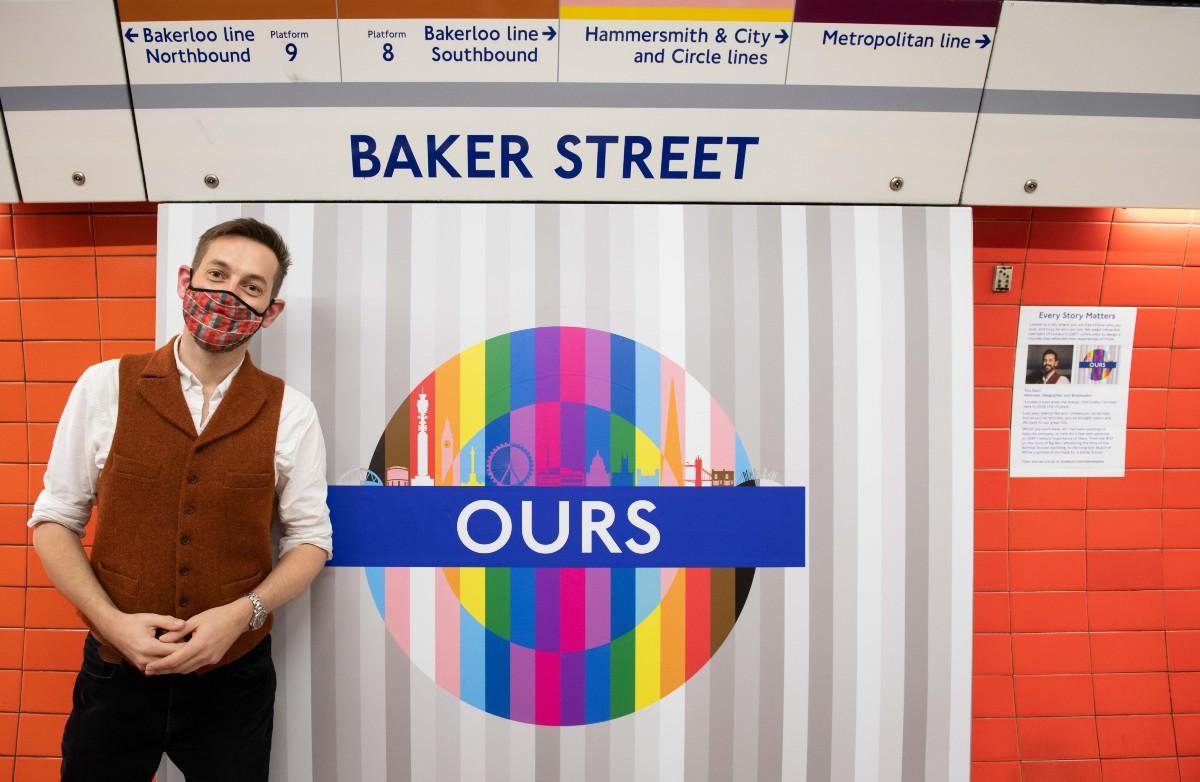 A Pride design roundel on London's Underground