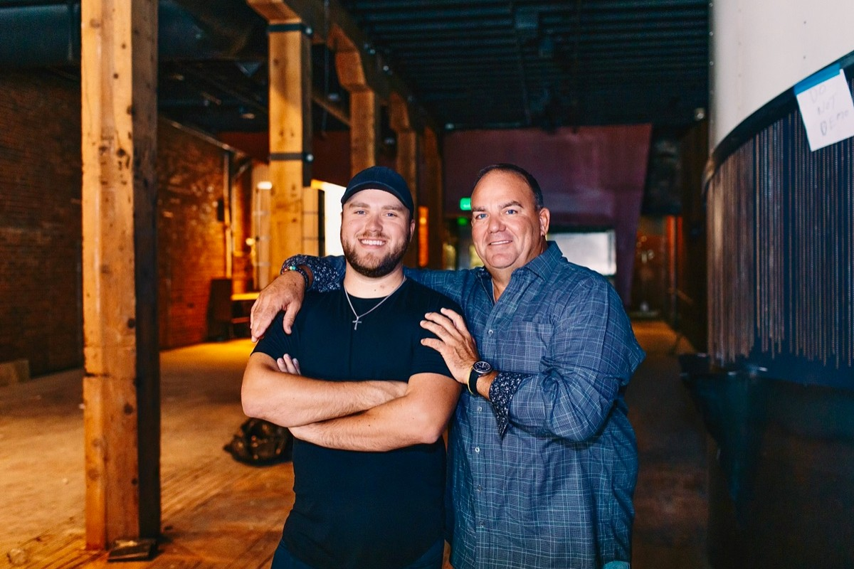 Trey and his father, Tyler Stewart, on the site of the soon-to-launch SIR in Denver