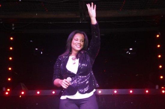 "Kimberley Locke after her performance of her new, hit single, ""Feel the Love."""